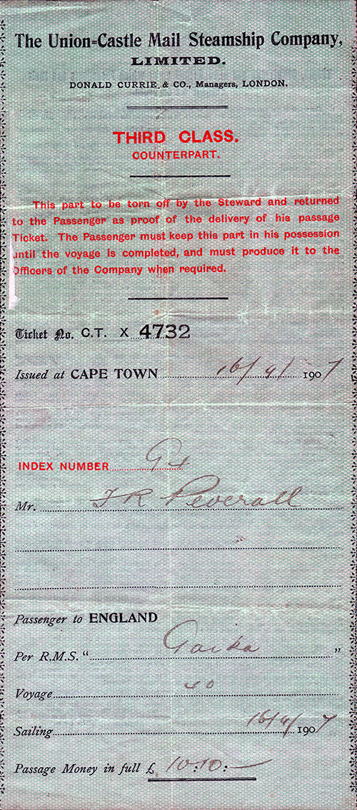 Third Class Passage Ticket, Cape Town to England, 16 September 1907
