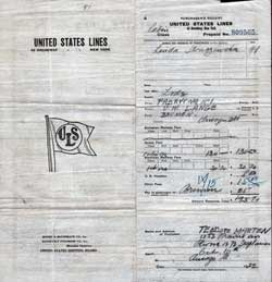Prepaid Passage Ticket, Polish Immigrant, United States Lines, 1922