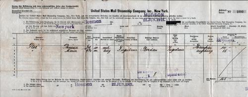 Front Side, Passenger Manifest, United States Mail Steamship Company, S.S. Hudson, 1921