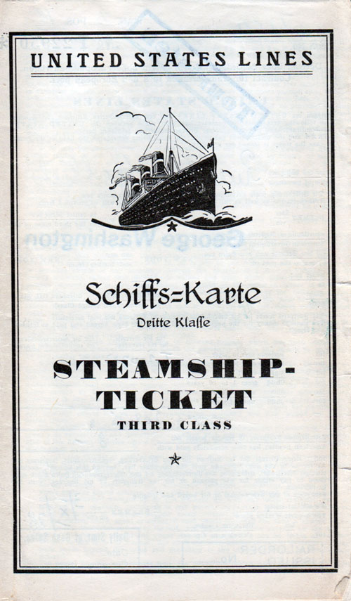 Steamship Ticket, Third Class, United States Lines - 1928