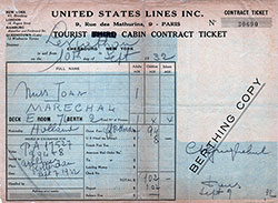 Steamship Ticket - Tourist Cabin - United States Lines S.S. Leviathan, 1932