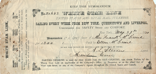 Memorandum of a Draft, White Star Line - 1880
