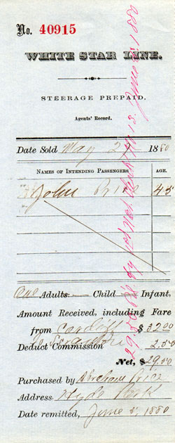 1880 Prepaid Steerage Steamship Ticket