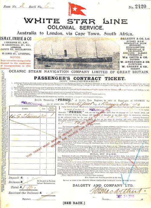 Passenger's Contract Ticket, Colonial Service, White Star Line, Australia to London 1910