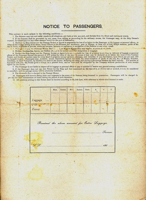 Reverse Side, Passenger's Contract Ticket, Colonial Service, White Star Line, Australia to London 1910