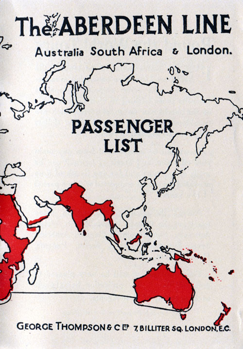 Passenger List - Aberdeen Line - Demosthenes - 1926 - Australia to   the United Kingdom