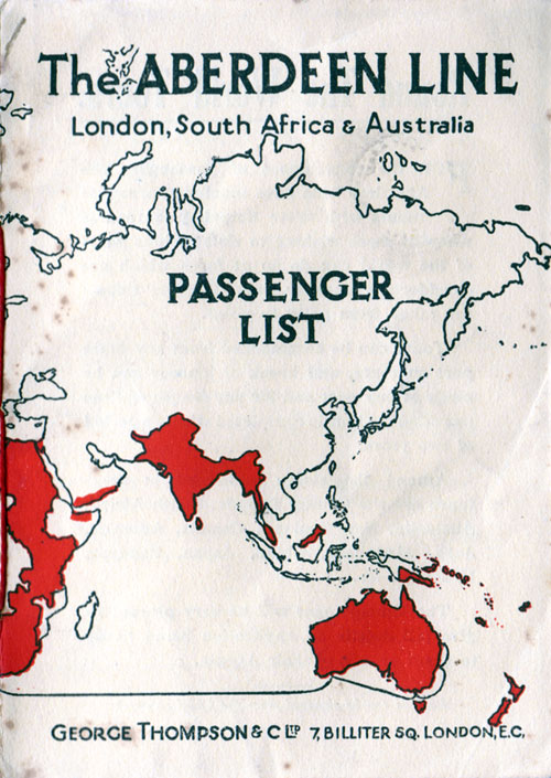 Passenger List - Aberdeen Line - Sophocles - 1925 - United Kingdom   to Australia