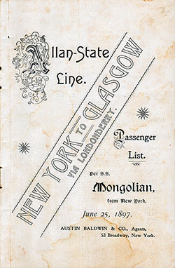 1897-06-25 Passenger Manifest for the S.S. Mongolian