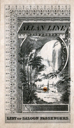 Passenger List, Allan Royal Mail Line Steamer Parisian, 1891 Voyage