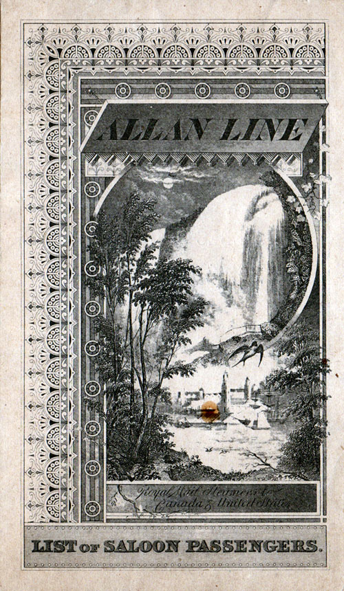 Passenger List - Allan Royal Mail Steamer Parisian 1891 Saloon Passengers