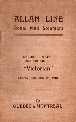 Front Cover - 1910-10-28 Passenger Manifest for the RMS Victorian
