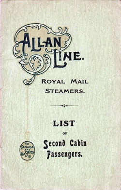 Passenger List, Allan Line R.M.S. Virginian, 1906, Liverpool to Quebed and Montreal