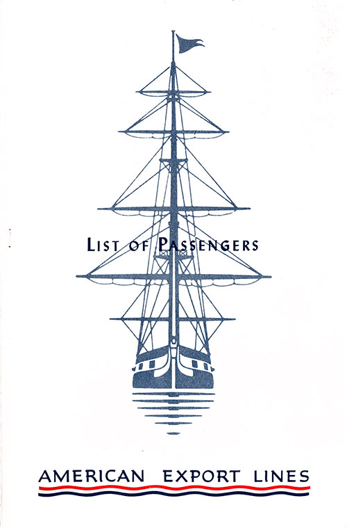 Front Cover - Passenger List, American Export Lines, S.S. Constitution, 1 March 1952