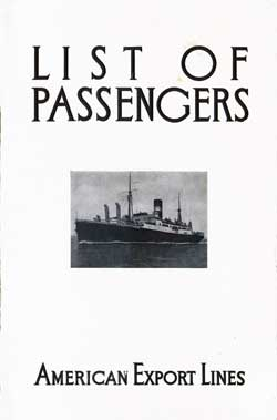 1932-06-28 Passenger List for S.S. Exeter