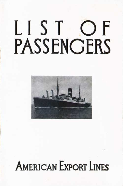 Passenger List, American Export Lines SS Exeter 1932
