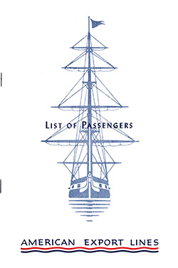 1952-10-27 Passenger List for S.S. Independence