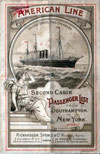 Passenger Manifest Cover, August 1893 Westbound Voyage - S.S. New York