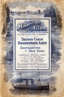Passenger Manifest for the Cover, September 1900 Westbound Voyage - S.S. New York