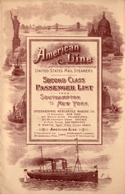 Passenger Manifest for the Cover, September 1903 Westbound Voyage - S.S. Philadelphia