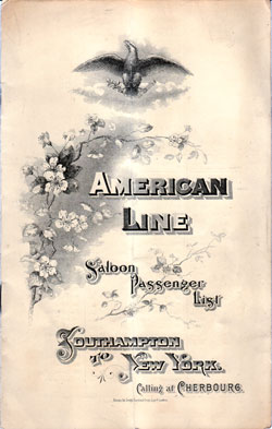 Passenger Manifest for the Cover, May 1901 Westbound Voyage - S.S. St. Louis