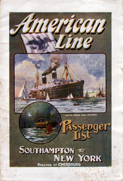 Passenger List Cover, September 1911 Westbound Voyage - S.S. St. Louis