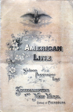 Passenger Manifest for the Cover, December 1902 Westbound Voyage - S.S. St. Paul