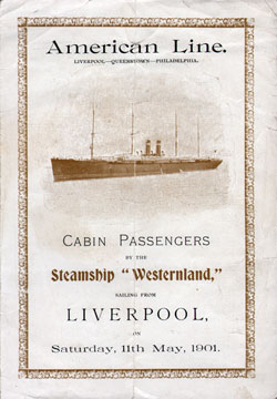 Passenger Manifest, American Line SS Westerland, May 1901, Liverpool to Philadelphia