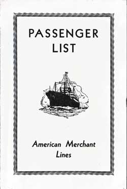 Front Cover, Passenger List, S.S. American Farmer, American Merchant Lines, June 1934, London to New York