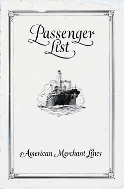 Front Cover - 23 August 1928 Passenger List, S.S. American Merchant, American Merchant Lines