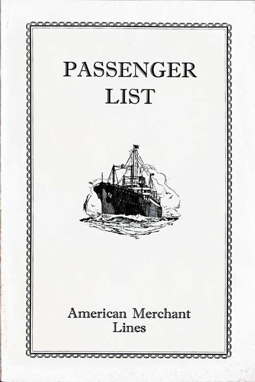 Front Cover - 17 May 1929 Passenger List, S.S. American Shipper, American Merchant Lines