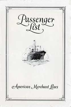 Front Cover - 18 April 1929 Passenger List, S.S. American Trader, American Merchant Lines