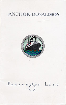 Front Cover - T.S.S. Letitia Passenger List - August 1930