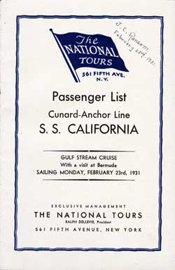 23 February 1931 Passenger Manifest for the S.S. California