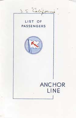 19 August 1938 Passenger Manifest for the T.S.S. California
