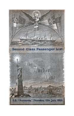 Passenger Manifest, Anchor Line S.S. Furnessia, 1900, Glasgow, Scotland to New York