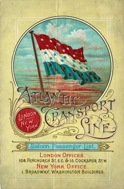Passenger List, Atlantic Transport Line SS Marquette 1899