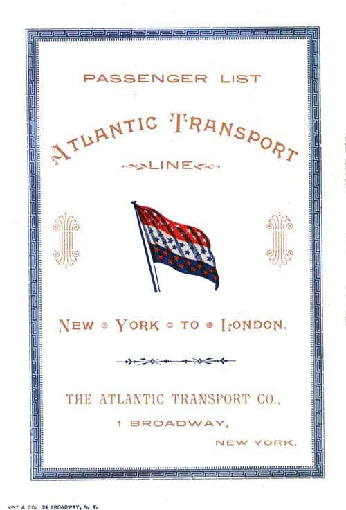 Front Cover - 15 September 1900 Passenger List, S.S. Marquette, Atlantic Transport Line