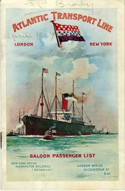 Passenger List, Atlantic Transport Line, S.S. Minneapolis, 1902