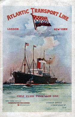 Front Cover, Passenger List, S.S. Minneapolis, Atlantic Transport Line, August 1904