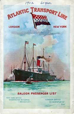 Passenger List, Atlantic Transport Line, S.S. Minnehaha, 1902