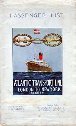 Passenger List, Atlantic Transport Line, S.S. Minnekahda, 1925