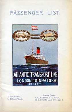 Passenger Manifest, Atlantic Transport Line S.S. Minnekahda August 1925