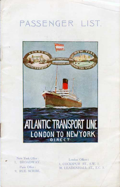 Passenger List, Atlantic Transport Line SS Minnekhda - Sep 1927
