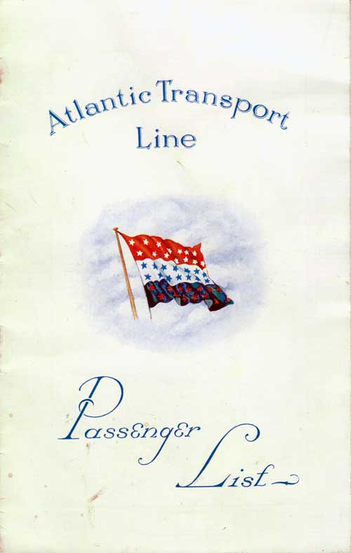 Passenger List, Atlantic Transport Line SS Minnekahda 1928
