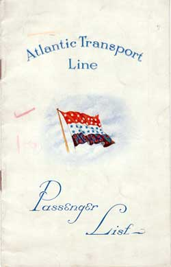 Front Cover - 23 June 1928 Passenger List, S.S. Minnekahda, Atlantic Transport Line