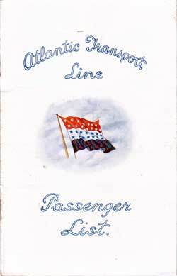 Front Cover - 21 July 1928 Passenger List, S.S. Minnekahda, Atlantic Transport Line