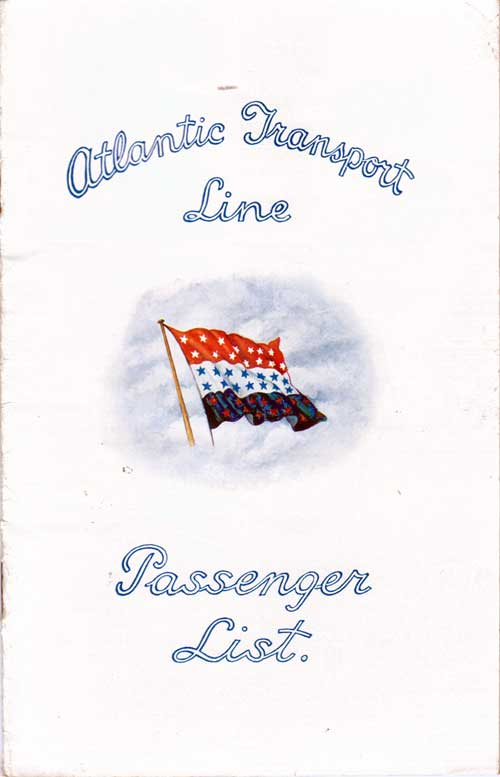 Front Cover - 21 July 1928 Passenger List, SS Minnekahda, Atlantic Transport Line