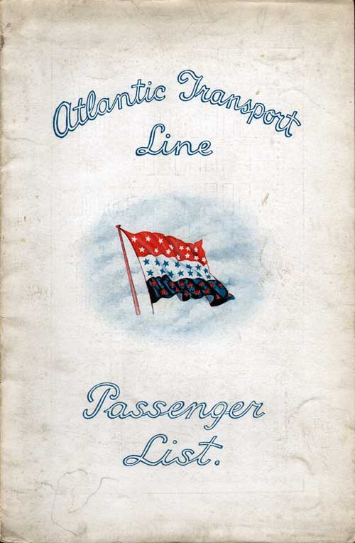 Front Cover - 22 February 1930 Passenger List, S.S. Minnekahda, Atlantic Transport Line