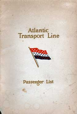 Front Cover - 11 June 1927 Passenger List, S.S. Minnesota, Atlantic Transport Line