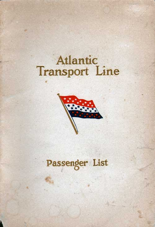 Front Cover - 11 June 1927 Passenger List, SS Minnesota, Atlantic Transport Line
